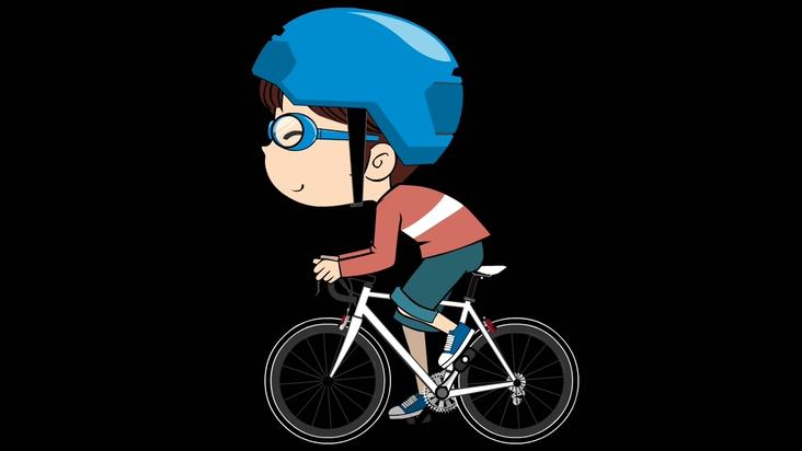 卡通小孩骑自行车的视频素材(带通道)