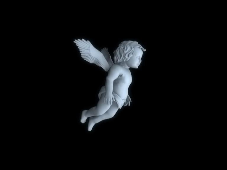 从右边观看带翅膀的小天使丘比特的视频素材