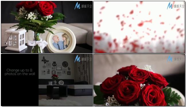甜蜜婚礼花瓣满屋床头爱的文字宣言婚礼相册模板