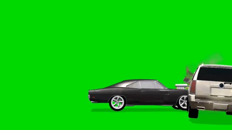 模拟汽车相撞的视频素材(绿色通道)