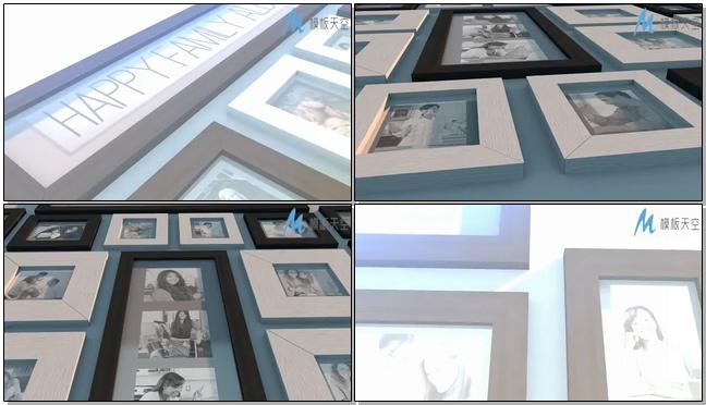 幸福家庭相片墙视频AE模板
