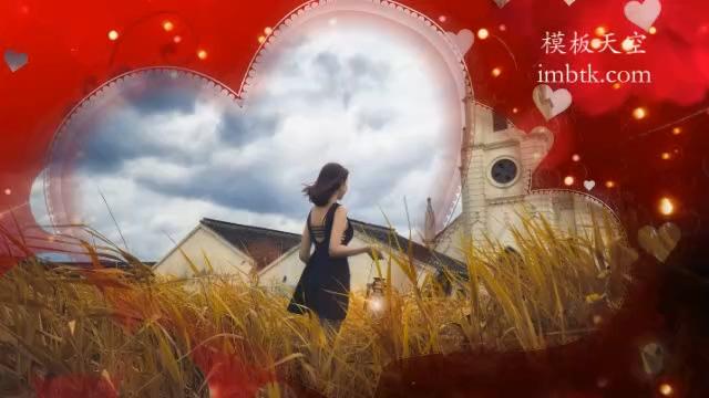 唯美音乐之红色浪漫婚礼相册会声会影x10模板