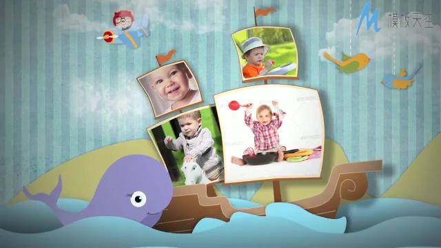 可爱宝宝成长纪念记录相册ae模板