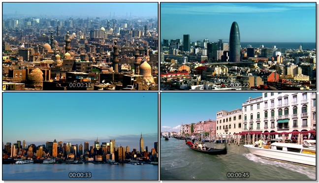 城市特色景点和出行方式实拍视频