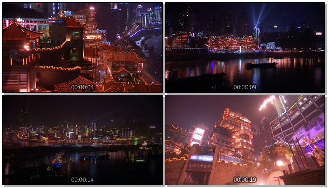 充满中国风的古老房屋夜景实拍视频