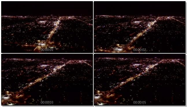 航拍城市上空的璀璨夜景实拍视频