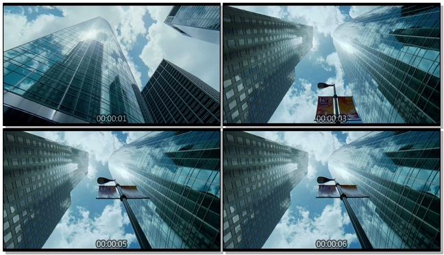 仰视高楼大厦的实拍视频