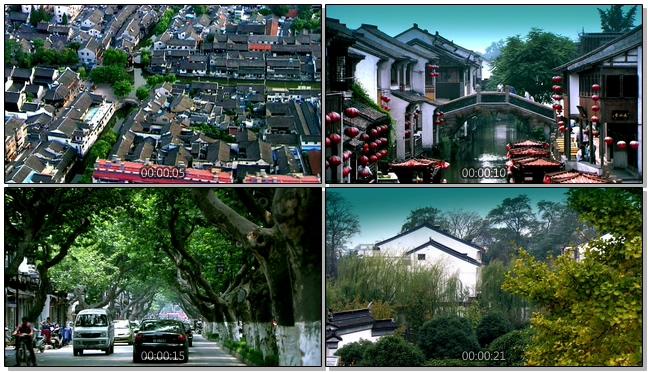 具备浓重中国风的古老小镇实拍视频