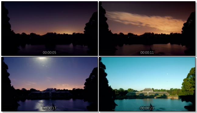 公园旁记录日出过程的实拍视频