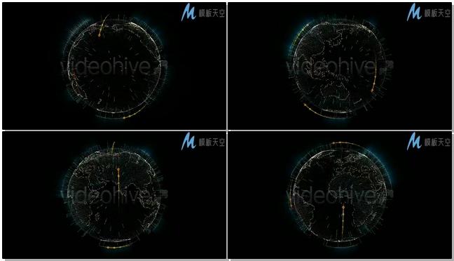 动感震撼的高科技网络地球仪旋转展示ae模板
