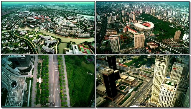 航拍城市面貌全景的实拍视频