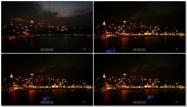 记录城市黄昏进入夜晚的实拍视频