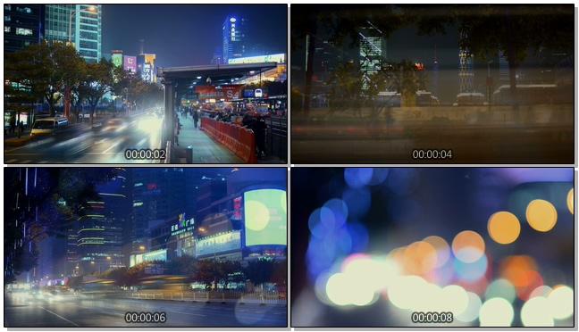 记录城市夜间生活的实拍视频