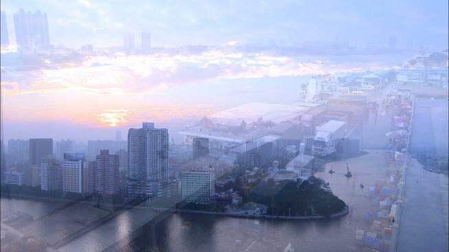 记录繁华城市清晨生活的实拍视频