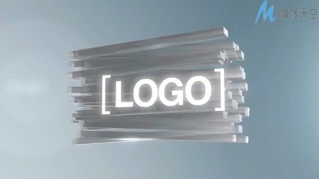 时尚动感的长方条组成企业logo的ae模板