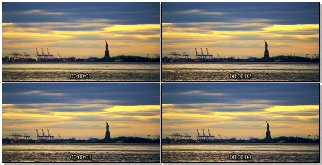 梦幻黄昏下的美国自由女神像实拍视频