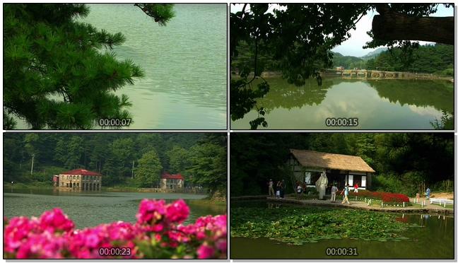 寂静优雅的庐山湖水自然美景实拍视频