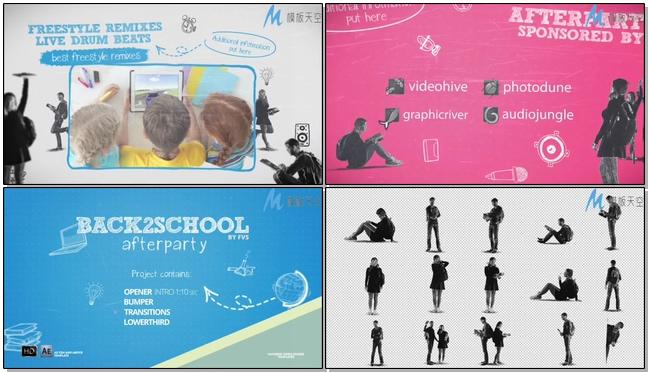 动感创意的动画学校宣传片展示ae模板