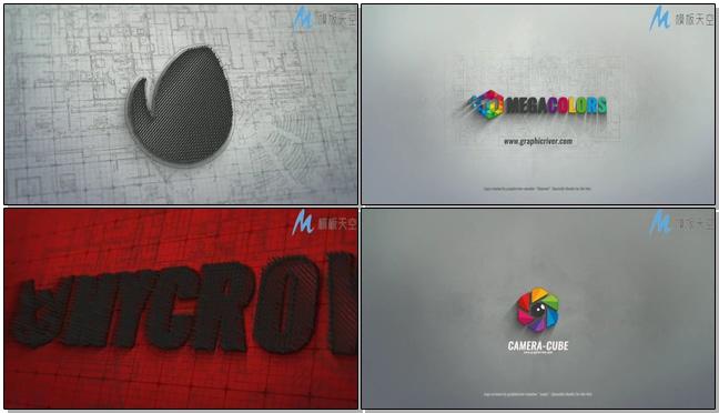 动感震撼的建筑轮廓三维时尚标志宣传的ae模板