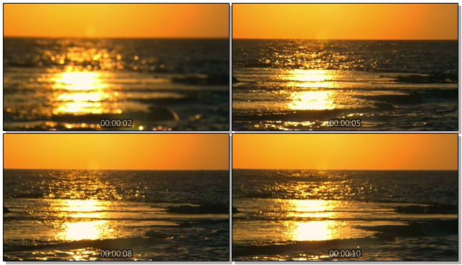 唯美绚丽的金色落日影射在海水中的实拍视频