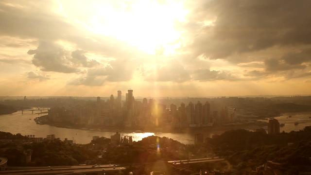 航拍重庆城市全景的实拍视频