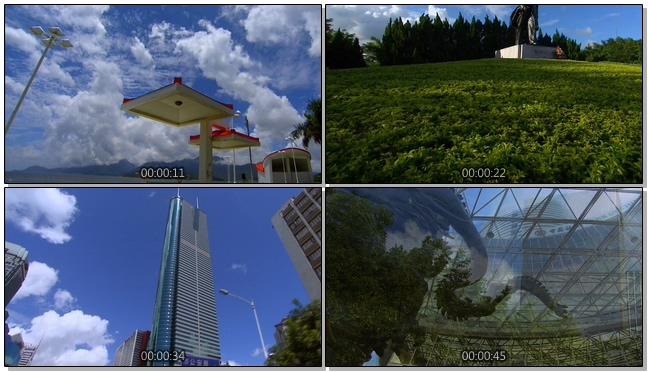 140510089深圳城市风景+蓝天白云+高楼大厦+建筑