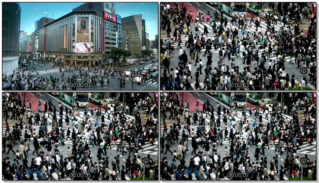近距离拍摄上海街头人流移动的实拍视频
