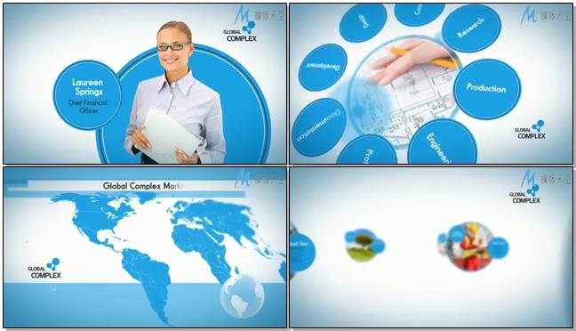 时尚简洁的商务宣传圆图展示ae模板