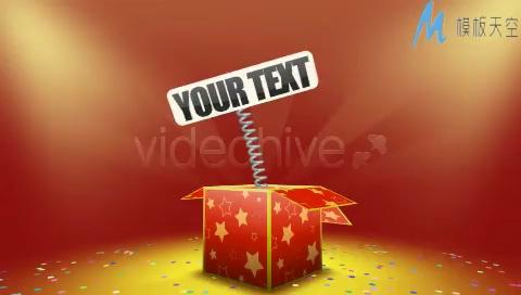 彩盒跳出礼物logo文字标志AE模板
