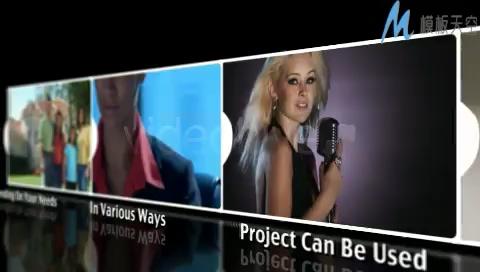 图片视频排成一列移动展示AE模板