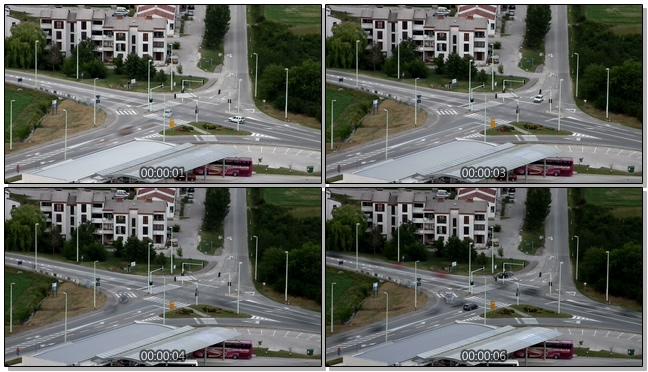 城市十字路口车流的实拍视频