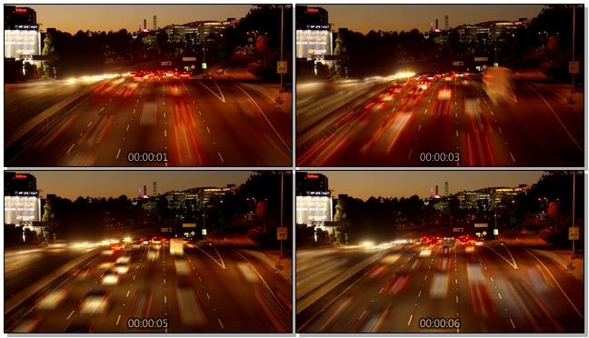城市灯光交错车流拥挤的实拍视频