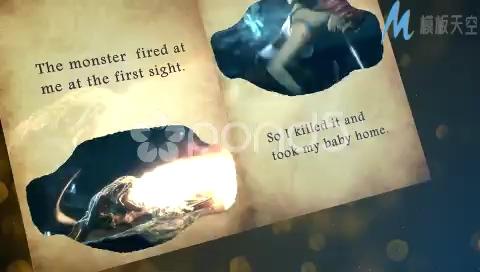 三维魔法书翻页展示相册模板