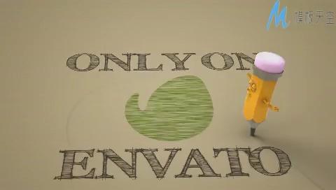 创意卡通铅笔人绘制LOGO标志片头模板