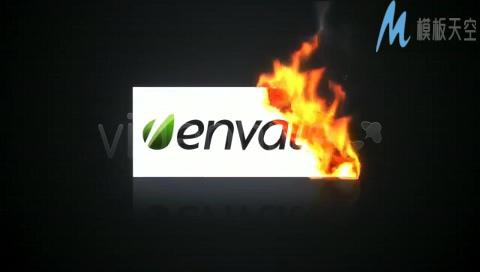 纸张燃烧标志AE模板