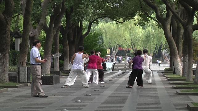 城市中老人晨练打太极的实拍视频
