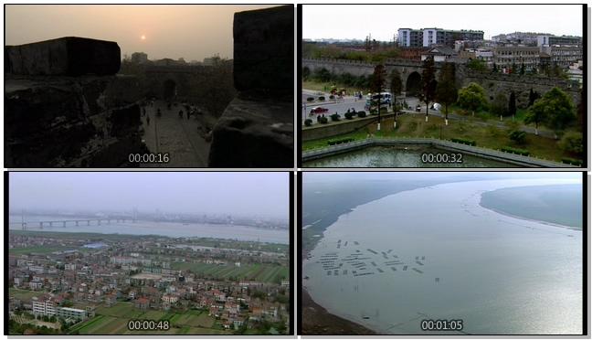 航拍雄伟壮阔的古城荆州风光实拍视频