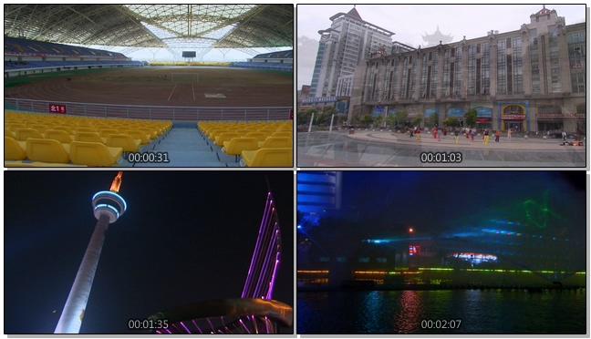 航拍南通城市风景霓虹灯闪烁的实拍视频