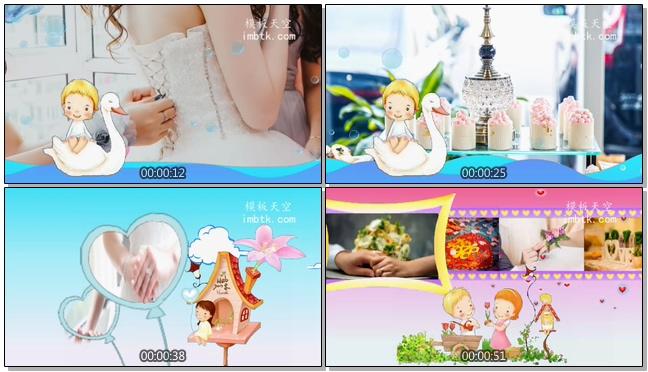 可爱浪漫的婚礼婚庆电子相册视频模板