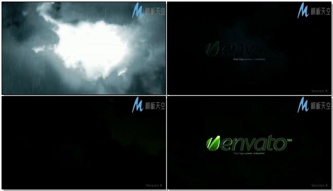 雷雨天标志影视片头AE模板