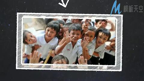 黑板画风格学校主题视频展示AE模板