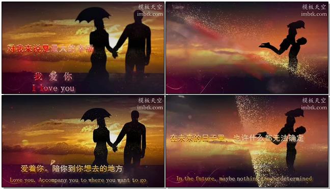 金色粒子浪漫婚礼告白开场小视频模板