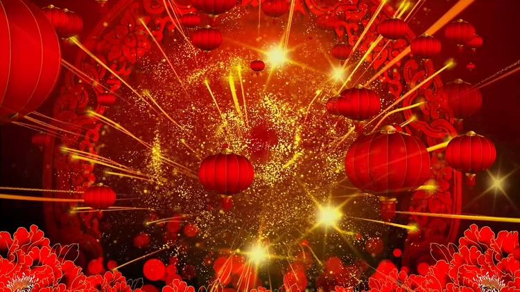 新年大红灯笼喜庆视频素材