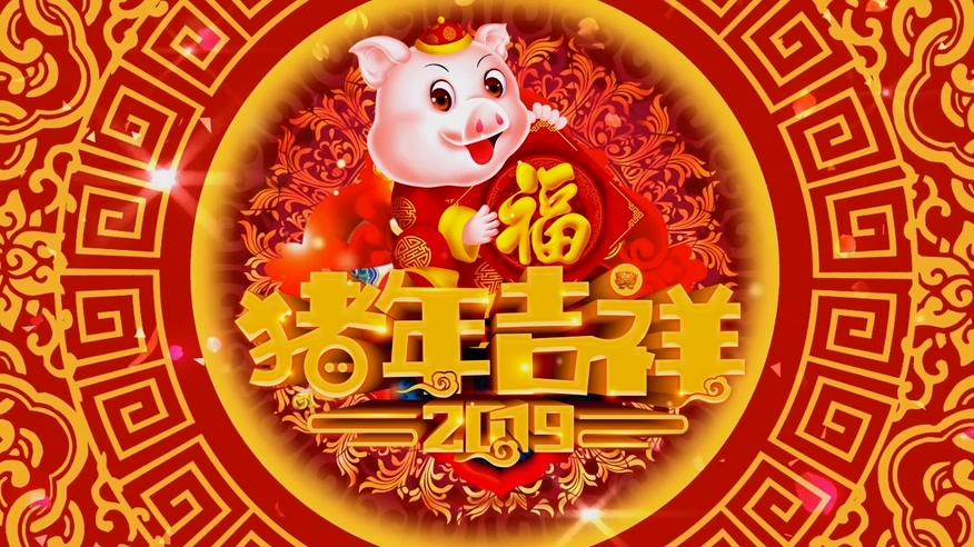 2019猪年吉祥春节拜年视频素材