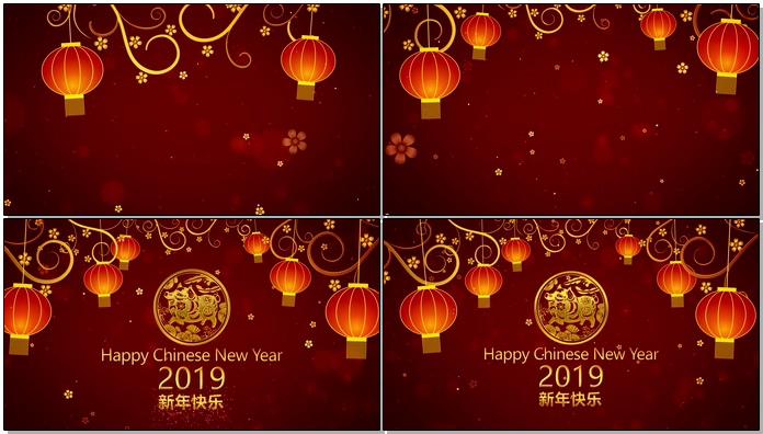 2019新年元旦快乐春节祝福片头AE模板