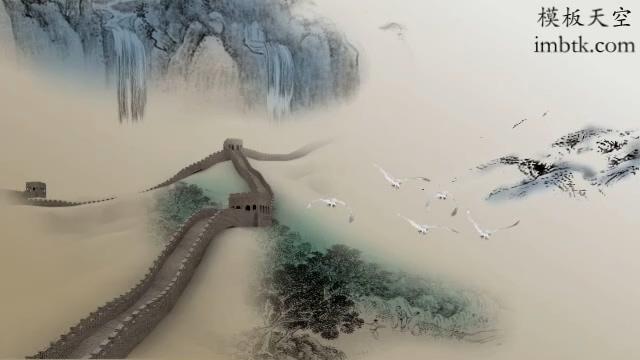 会声会影中国古风水墨画毛笔视频素材