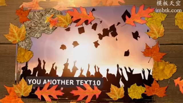 复古怀旧的同学会毕业相册之唯美校园枫叶模板