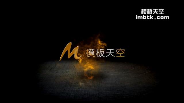 金色火焰粒子特效LOGO展示片头模板