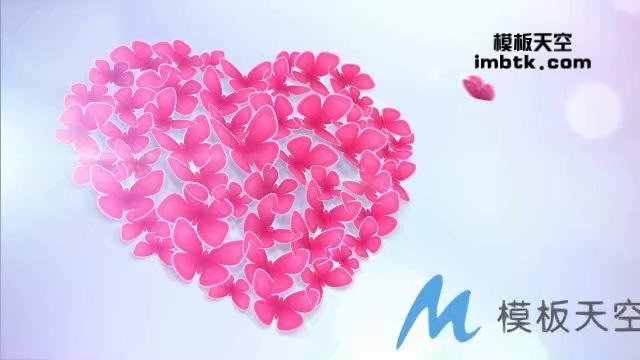 蝴蝶组成心形花瓣的浪漫爱情婚礼片头