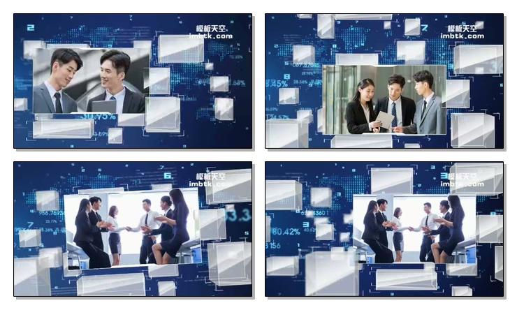 蓝色商务科技企业三维空间宣传片头模板